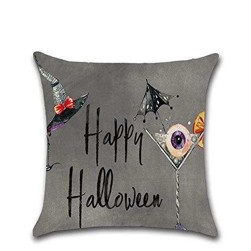 Halloween Deko Grusel Dekoration Set 45 * 45 cm Halloween Kürbis Kleine Hexe Cartoon Kissenbezug 306 1 Paket für Halloweendeko Make-up-Party Halloween Dekoration