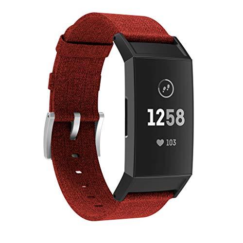 Für Fitbit Charge 3 Ersatz gewebte Canvas Fabric Watch Armbänder Bracelet Strap Wristband für Fitbit Charge 3 Fitness Sport Tracker Damen Herren Small-Large (Rot)