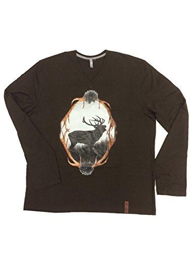 Herren Trachten-Shirt Langarm, Hirschprint, braun (L)