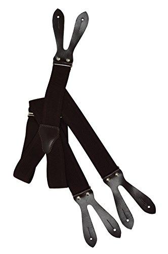 Tirantes 'Y-Forma' Para Botones (35mm) con Cuero Natural Marron Oscuro, Totalmente Ajustable - Marron Oscuro