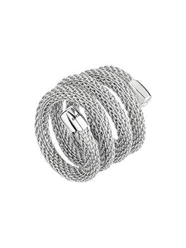 Breil - anello donna collezione new snake - gioiello modellabile in maglia mesh metallica di acciaio lucido - lunghezza 20 cm - acciaio/silver - tj2719