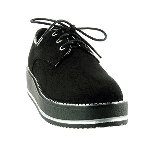 Angkorly Damen Schuhe Derby-Schuh - Plateauschuhe - Reißverschluss Keilabsatz 4.5 cm Schwarz