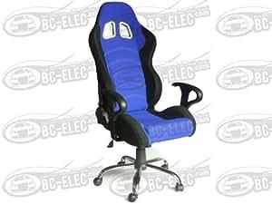 Bc-Elec - Siège Baquet Bleu Et Noir Fauteuil De Bureau