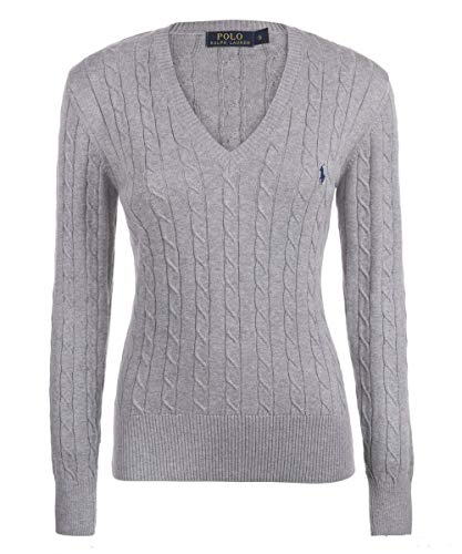 Ralph Lauren Polo Cable Knit V-Neck Cotton Pullover Kimberly Grau (M)