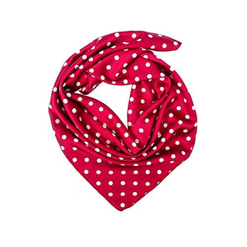 ACVIP Damen Vintage Imitation Seide Quadratisch Schal Bandana Kopftuch Halstuch,70cm*70cm(Rot Polka Dot) (Schal Polka Rot Dot)
