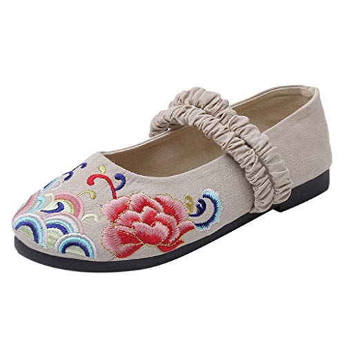 LILIGOD Frauen Freizeit Ethnischen Stil Flache Schuhe Einzelne Schuhe Slip On Literarisch Baumwolle und Leinen Flacher Mund Bestickte Schuhe Atmungsaktive Kostüm Hanfu Schuhe