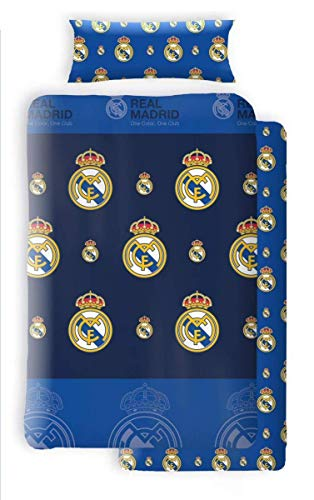Asditex Juego de Sábanas Coralina Real Madrid, 3 Piezas 1 Sábana Encimera, 1...