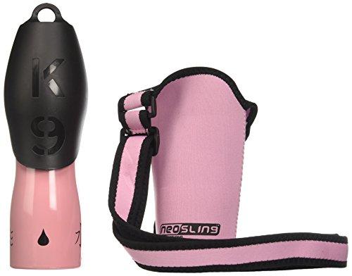 H2O4K9 Neosling mit 700 ml Hunde-Wasserflasche und Reise-Napf, Baby Pink