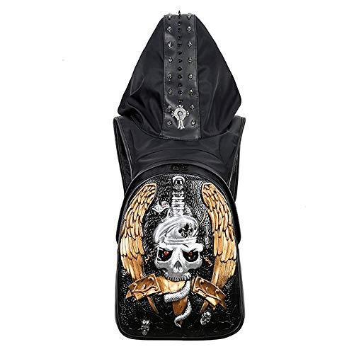 Zzyff Hohe Qualität PU-Leder Herren 3D Schädel Rucksack Punk Rock Dark Persönlichkeit Hüte Outdoor-Sport Reiten Tasche Metall Nieten Dauerhaft (Farbe : Gold)