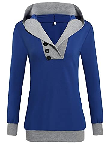Women Spring Long Sleeve Hooded Pullover Casual Hooded Sweatshirt (M, Royal blue)
