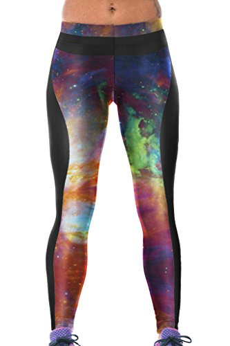 Voguehive - Legging de sport - Jegging - Imprimé Aztèque - Femme Noir - Fancy Galaxy Print