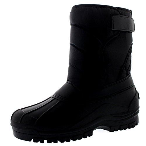 uomo-letame-cinturino-in-nylon-anatra-inverno-ballerina-pioggia-stivali-blk43-ayc0147