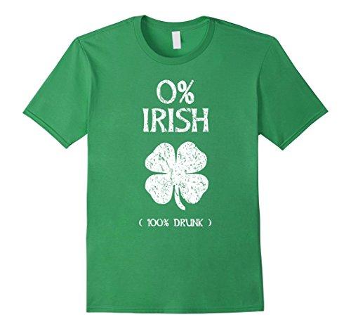 0% Irish 100% Drunk St. Patrick Day Vintage T Shirt Herren, Größe XL (St T Patricks Shirts)