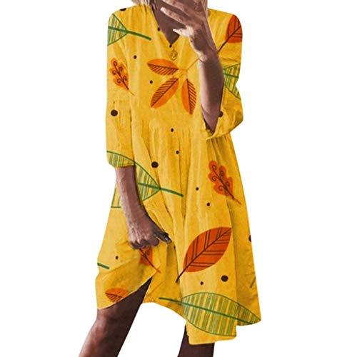 LOPILY Hippie Strandkleid Damen Blätter Muster Druckkleid Lockere Tunika Kleid 3/4 Arm Blusenkleid 50 48 Sommer Herbst Shirtskleid Knielang Tallierte Kleider Damen Große Größen (Gelb, 42)