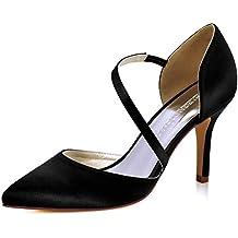 9e9d27afc1 ElegantPark HC1711 Punta Estrecha de Las Mujeres Tacones de Aguja Zapatos  de tacón Alto Correas Boda