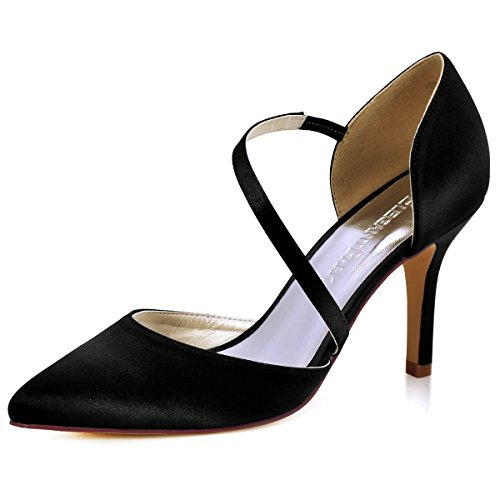 Elegantpark HC1711 Women Pointed Toe Stiletto High Heels Court Shoes Straps Wedding Prom Party Bridal Shoes Black UK 4(EU 37)