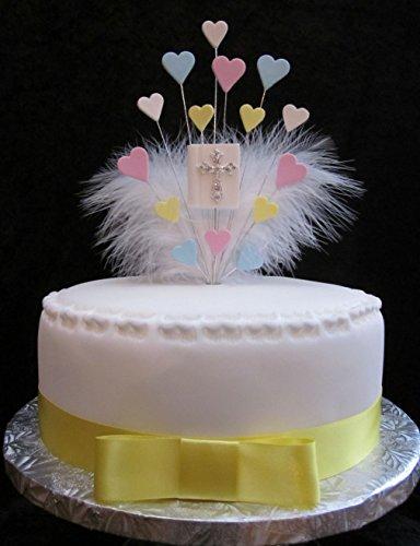 Bible avec cœurs et plumes Décoration pour gâteau Idéal pour un gâteau de 20 cm – Bleu, Jaune, Rose, Blanc Plus 1 x M 25 mm Ruban de satin Jaune avec nœud