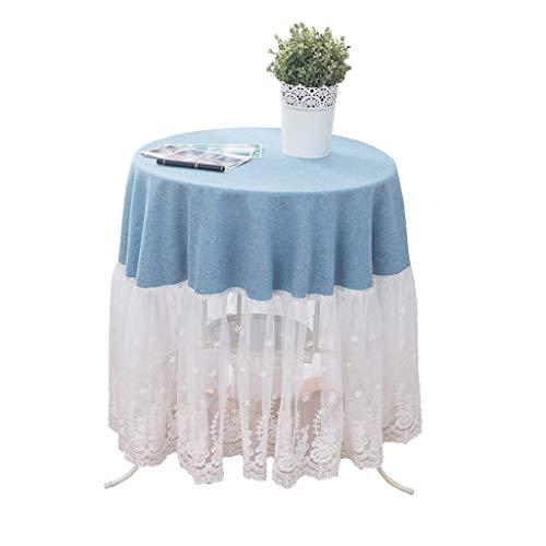 Nappe ronde blanche dentelle coréenne mignonne nappe tissu à la maison couleur unie fille coeur couverture de table en tissu pour la décoration (taille : 200cm)