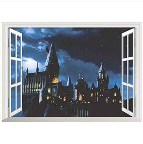 418f624tHbL - Harry Potter Movie Poster Magic Castle 3D Ventana Falsa Vinilo Pegatinas De Pared Decoración Del Hogar Papel Tapiz Extraíble