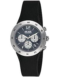 Orologio HIP HOP uomo METAL quadrante nero e cinturino in silicone, metallo nero, movimento CHRONO QUARZO