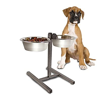 Guaranteed4Less Double Diner Raised Dog Bowls Food Water Feeding Dishes Adjustable Stand Large from Guaranteed4less