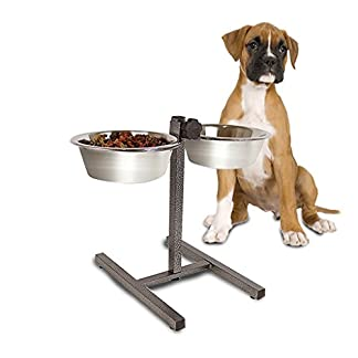 Guaranteed4Less Double Diner Raised Dog Bowls Food Water Feeding Dishes Adjustable Stand Large 418f6ecmjKL