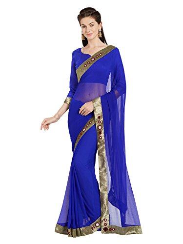 Abito da Donna in Finto Pizzo Georgette Patti Specchio Saree Mirchi Abbigliamento Indiano Moda (5469_Royal Blue)