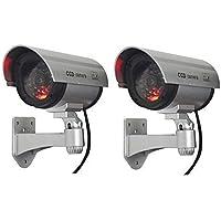 MOHAK 2 Pcs Security CCTV False Outdoor CCD Camera Fake Dummy Security Camera Waterproof IR Wireless Blinking Flashing