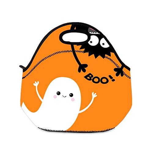 Lunchtasche für Kinder - Happy Halloween Flying Ghost Spirit Boys Lunchbox faltbar Kinder Lunchbeutel mit Reißverschluss für die Schule