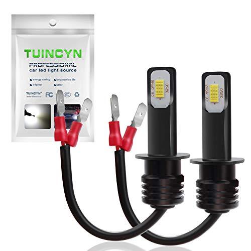 TUINCYN Lot de 2 Ampoules LED H1 pour Feux de Brouillard Blanc 6500 K 2400 lumens Puces 3570 CSP