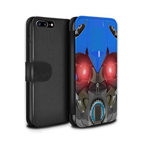 Stuff4 Coque/Etui/Housse Cuir PU Case/Cover pour Apple iPhone 7 Plus / Bumble-Bot Jaune Design / Robots Collection Bumble-Bot Bleu