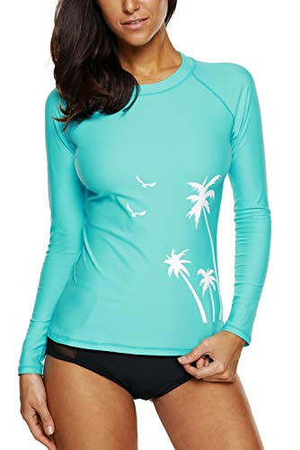Vegatos Damen Badeshirt UV-Schutz Rash Guard Slim-Fit Spize UV Shirt Stand Schwimmshirt UPF 50+ Aqua L