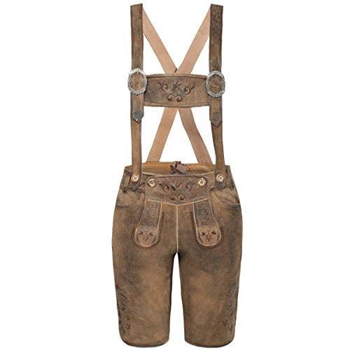 MarJo Trachten kurze Lederhose Zenzi in Braun, Größe:42, Farbe:Braun