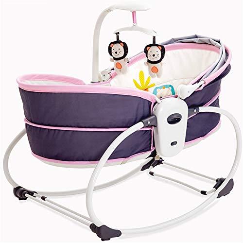 ZXL Babywippen & -schaukeln Infant Bouncers & Rockers 5 in 1 Schaukelbett Baby Schlafsessel tragbare elektronische musikalische Schaukel Baby Schaukelbett,Pink