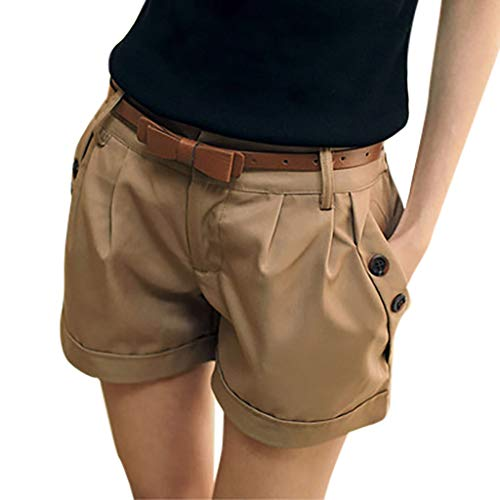 WOZOW Damen Kurze Hose Shorts Solid Falten Gefaltet Lose Loose A Line Cool Short Casual Military Stoffhose Trousers Pocket Bloomers Mini Hosen (3XL,Khaki) -