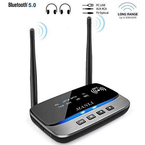 Bluetooth Adapter 5.0 Transmitter Empfänger, MANLI 3-in-1 Sender Receiver Wireless Audio Adapter, 80M Reichweite unterstützt NFC aptX HD Dual Link Optical RCA AUX 3.5mm für Kopfhörer Heim Stereoanlage (Nfc-stereo-adapter)
