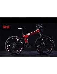 ZYPMM bicicleta de montaña / ciclismo 27 (24) (21) Velocidad de 26 pulgadas plegable / 700CC unisex adulto / hombres / niño unisex SHIMANO EF-51-8 Disco de freno ( Color : Rojo , tamaño : Six spokes )