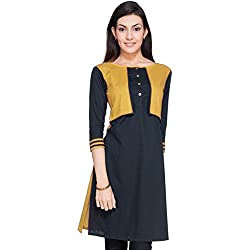 Varibha® Black & Gold Cotton Free Size Plain Kurti For Women / Girl | Low Price Kurti Below 300 | Best Deal Of The Day | Best Offer Of The Day | diwali offers for women dresses | diwali offer 2017 | today best offers