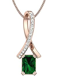 Perrian 18KT Gold, Diamond And Emerald Pendant For Women - B077HZ66WS