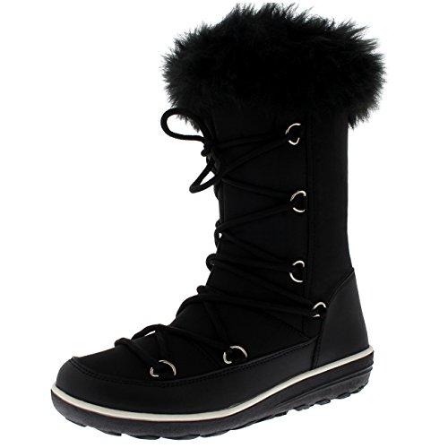 Polar Boot Damen Kunstpelz Thermal Warm Winter Schnee Regen Wasserdicht Knie hoch Stiefel - Schwarz Nylon - UK6/EU39 - YC0477