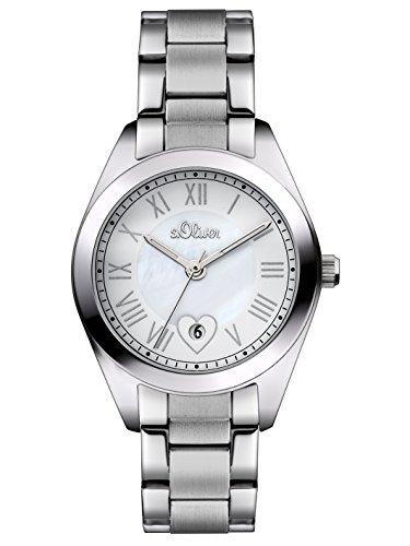 s.Oliver - Reloj de cuarzo para mujer, correa de acero inoxidable color plateado