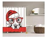 AnazoZ Duschvorhang Anti-Schimmel, Wasserdicht Vorhänge an Badewanne Antibakteriell, Bad Vorhang für Dusche 3D Hund mit Weihnachtsmütze Brille, 100% PEVA, inkl. 12 Duschvorhangringen 180 x 180 cm