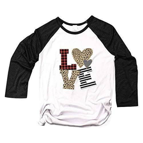 serliySweatshirt Damen Lang Valentinstag Frauen Lieben Herz Leopard Rundhals Langarm T-Shirt Tops Sweatshirt Pullover Oberteil Langarmshirt Langarm Hemdbluse Hemd
