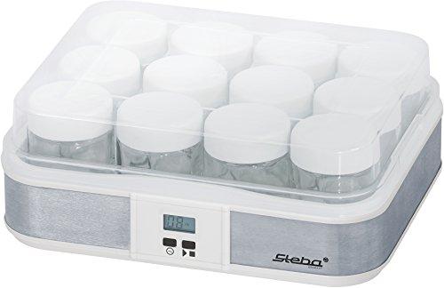 Steba JM 2 Jogurtbereiter | Timerfunktion mit Endabschaltung für die perfekte Konsistenz | Betriebskontrollleuchte | LCD Display | 12 - Glas Joghurtbecher mit Deckel à 0,21 Liter | 2,5 Liter Gesamt - Joghurt-gläser Glas