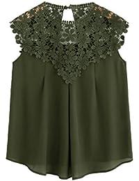 1110139eec82 ROMWE Damen Elegant Ärmellos Chiffon Bluse mit Blumen Spitze Shirt Oberteil  Bluse