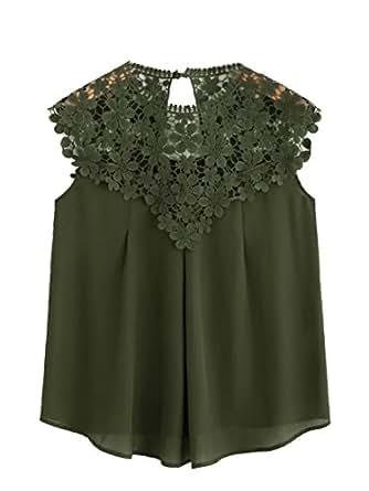 562b327e8d39d ROMWE Femme Top sans Manches Shirt Col Rond Dentelle Blouse Casual Vintage  Bordeaux