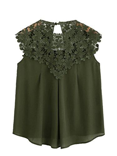 ROMWE Damen Elegant Ärmellos Chiffon Bluse mit Blumen Spitze Shirt Oberteil Bluse Armee Grün M