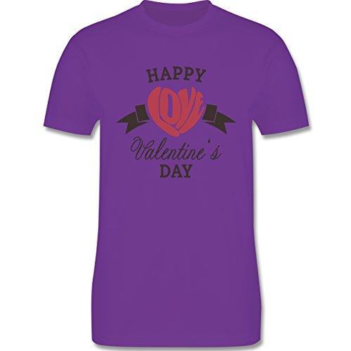 Valentinstag - Happy Valentine's Day Herz Love Typographie - Herren Premium T-Shirt Lila