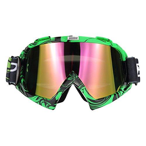 EXQUILEG Motorradbrillen, Sportbrille Snowboardbrille Fliegerbrille, Winddicht Staubdicht(Grün Frame,farbig Lens)