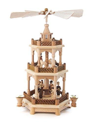 Pyramide natur Christi Geburt und Krippe, 2-stöckig, für Kerzen, von DREGENO SEIFFEN 42 cm - Original erzgebirgische Handarbeit, Weihnachtsdekoration - Runde Holz Krippe